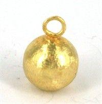 Børstet 14 mm sølv kugle med ring, 1 stk. - materialer til lav selv smykker