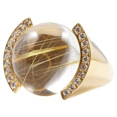Cartier Rock Crystal Diamond Gold Ring | See more rare vintage More Rings at http://www.1stdibs.com/jewelry/rings/more-rings