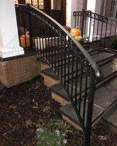 Step Railing Outdoor, Outside Stair Railing, Aluminum Porch Railing, Porch Step Railing, Wrought Iron Porch Railings, Porch Handrails, Exterior Stair Railing, Porch Railing Designs, Outdoor Stair Railing