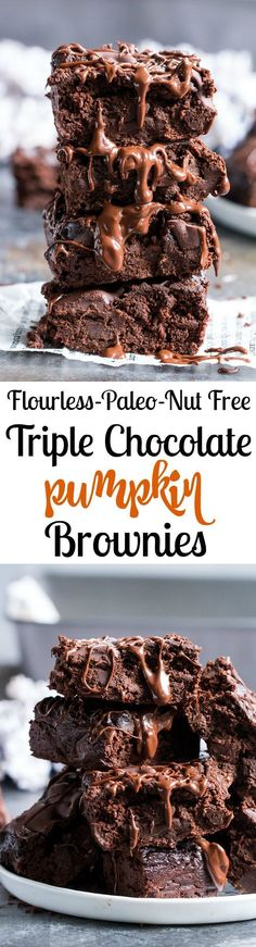Youll never guess these gooey rich Triple Chocolate Pumpkin Brownies are flourless and actually good for you! Deep dark chocolate x 3 with amazing texture from creamy pumpkin and the right amount of sweetness make this paleo treat an easy favorite fo Paleo Sweets, Paleo Dessert, Gluten Free Desserts, Dessert Recipes, Healthy Desserts, Delicious Desserts, Pumpkin Brownies, Paleo Brownies, Pumpkin Bars