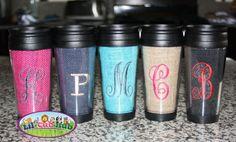 9138bdd32bba Items similar to Personalized Embroidered Coffee Mug Travel Beverage  Tumbler Burlap on Etsy