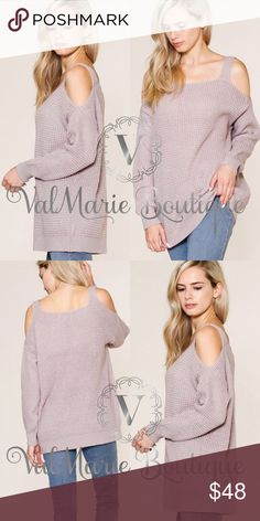 """Dusty Mauve Knit Cold Shoulder Sweater This sweater is SO SO soft. I'm in love. It's so gorgeous and fits beautifully! You can even wear it with a normal bra. Fits casual but true to size. S(2-4) M(6-8) L(10-12) - 100% acrylic.  Cold water wash and lay flat to dry. A gorgeous semi light Knit sweater but warm and cozy. Approx 28"""" from shoulder to bottom hem. ValMarie Sweaters"""