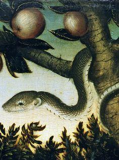 Lucas Cranach the Elder - Adam and Eve in the Garden of Eden (detail) (1531)