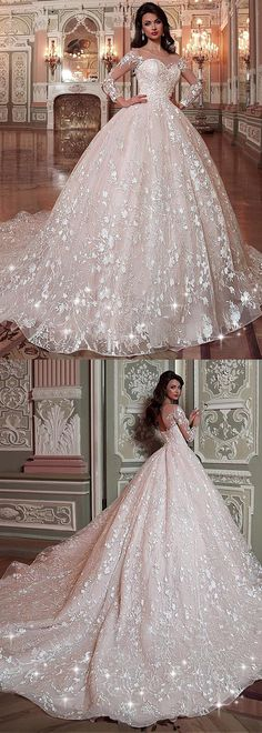 Attractive Tulle & Organza Scoop Neckline Ball Gown Wedding Dress With Lace Appliques & Beadings