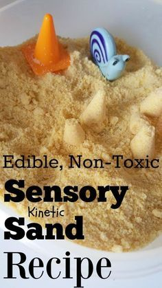 finished sensory bin with edible non toxic homemade kinetic sand