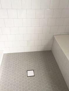 6x6 Offset White Wall Tile with Gray Hexagon Mosaic Floor Tile | Shower Tile Design | Budget Friendly Design | Custom Shower Design