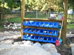 Awesome idea for sandpit toy storage. Drill some holes in the bottoms to release sand or rain water too.