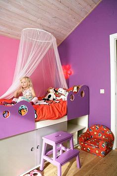 Pink And Purple Bedrooms pink and purple girls room - love the two tones on the wall | for