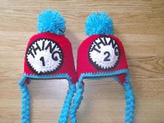Dr Suess Thing 1 & thing 2 twin hat set by SweetPeaCreates00, via Etsy.