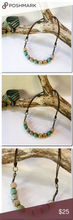 """Handmade Necklace with Leather Cord Handmade Necklace with Leather Cord - Imperial faceted Jasper Beads strung onto brown leather accented with brass-tone jump rings- Finished Size is 18 1/2"""" - Handmade Jewelry price firm unless bundled. Handcrafted Jewelry Necklaces"""