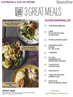Fast Dinner Recipes With Shopping Lists