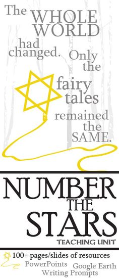 A heart-wrenching teaching unit for Lois Lowry's children's novel Number the Stars. 100+ pages of activities that are sure to engage upper elementary students, middle school students, and high school English students. Plot, Conflict, Characters, Writing Journals, Pop Quizzes, Vocabulary, Figurative Language, Activities, Poem Analysis, Essay lesson plans by Created for Learning
