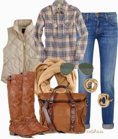 Casual Fall Outfit With Long Boots,Leather Handbag and Ray Bans