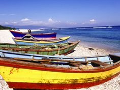 Fishing Boats on Beach Photographic Print by Greg Johnston at AllPosters.com