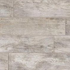Wood look tile. Looks weathered - MARAZZI Montagna Dapple Gray 6 in. x 24 in. Glazed Porcelain Floor and Wall at The Home Depot Grey Wood Tile, Faux Wood Tiles, Wood Look Tile, Ceramic Wood Tile Floor, Wood Grain Tile, Gray Tiles, Grey Grout, Concrete Floor, Bathroom Floor Tiles