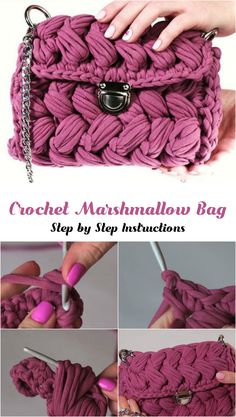 Crochet Marshmallow Bag Crochet Marshmallow Bag The post Crochet Marshmallow Bag appeared first on Pink Unicorn. Free Crochet Bag, Crochet Shell Stitch, Crochet Baby, Knit Crochet, Crochet Stitches, Crochet Handbags, Crochet Purses, Easy Crochet Patterns, Crochet Designs