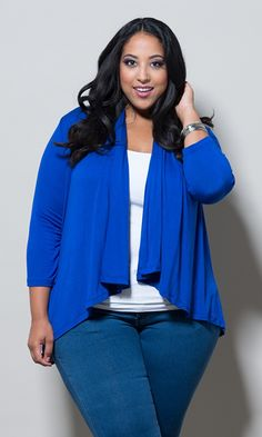 Plus size clothing for full figured women. We carry young and trendy, figure flattering clothes for plus size fashion forward women. Curvalicious Clothes has the latest styles in plus sizes Plus Size Outerwear, Plus Size Cardigans, Plus Size Tips, Plus Size Model, Plus Size Dresses, Plus Size Outfits, Work Dresses, Curvy Outfits, Curvy Fashion