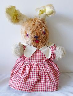 Vintage Bunny Rabbit Stuffed Plush Toy Doll in Gingham Dress Easter 1950's