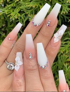 Phenomenal Ombre Nail Art Designs Ideas for This Year Part 3 ; ombre nail ideas 2019 nail design Phenomenal Ombre Nail Art Designs Ideas for This Year Part 3 Rhinestone Nails, Bling Nails, Swag Nails, Rhinestone Nail Designs, Bling Nail Art, 3d Nail Art, Ombre Nail Art, Coffin Ombre Nails, White Coffin Nails