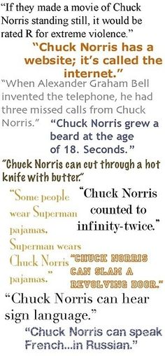 """A smattering of Chuck Norris jokes. I'd add """"Chuck Norris doesn't go hunting. Chuck Norris goes killing. Chuck Norris Facts, Chuck Norris Funny, Easy French Twist, Just In Case, Just For You, Starwars, Haha Funny, Funny Stuff, Funny Pick"""