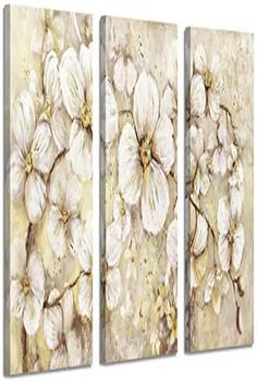 Abstract Flower Picture Canvas Art: White Bloom Gold Foil Painting for Wall Decor Elegant Flowers, Gold Flowers, Floral Flowers, Plant Wall Decor, Flower Wall Decor, Triptych Wall Art, Canvas Wall Art, Floral Artwork, Flower Canvas