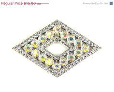 Vintage Diamond Shaped Aurora Borealis Rhinestone by TheFashionDen
