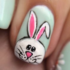 A close up photo of my Easter bunny #nails #nailart - emilysmakeupandnails @ Instagram Web Interface - 5th village