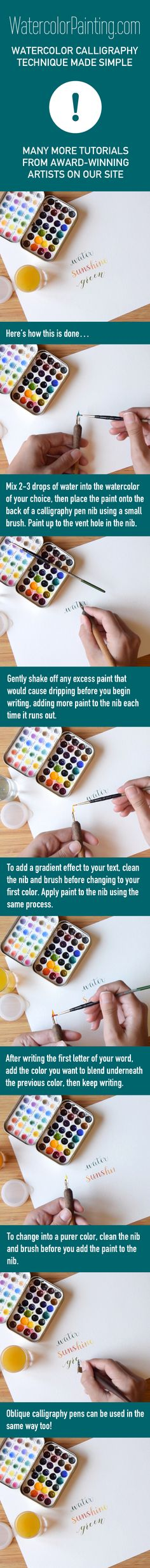 Click here for free full tutorial: http://bit.ly/1Mb3vg4 Includes video. Learn this fun watercolor technique for watercolor calligraphy, step-by-step. It's a unique project for unique results. Various beginner, intermediate & advanced watercolor techniques are taught on this site. #paintingideas