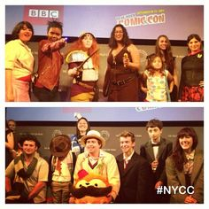 """Companions, Doctors and a photobombing Tardis. #DoctorWho #PaleyCenter NY #NYCC  #BBC Home Entertainment me """"photobombing"""" the group of Doctors, as the tardis. hehe"""