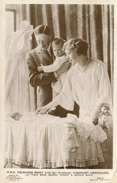 indypendentroyalty:  H. R. H. Princess Mary with her husband, Viscount Lascelles, and their sons George Hubert and Gerald David. Photo by Speaight, Ltd. Published by J. Beagles & Co., circa 1925.