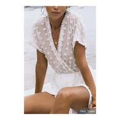 The sexy & sweet sheer playsuit is made from a sheer, off white overlay with textured dots throughout. It features an edge sheer top with short sleeves, cross …