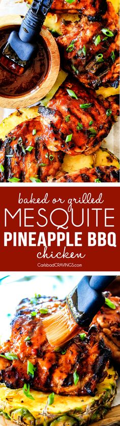 Juicy, smokey, sweet and tangy, Mesquite Pineapple BBQ Chicken smothered in the most wonderful homemade Pineapple BBQ sauce is irresistibly delicious and couldn't be easier!