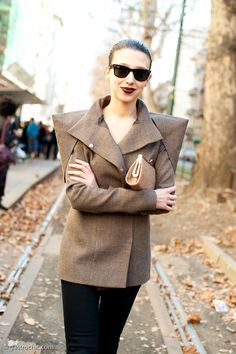 Sharp Shouldered Jacket, Outside Dolce & Gabbana #streetstyle #fashion | Gastro Chic