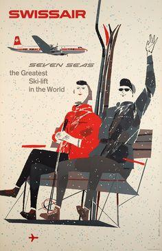 Swissair seven seas, the greatest Ski-lift in the world Hugo WETLI (1957)