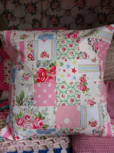 Patchwork cushion made with Cath Kidston fabric! I am a massive Cath Kidston fan and would love to make something like this, or go one better and make a quilt :-) Patchwork Cushion, Quilted Pillow, Patchwork Quilting, Shabby, Cath Kidston Quilt, Craft Projects, Sewing Projects, Sewing Tutorials, Project Ideas