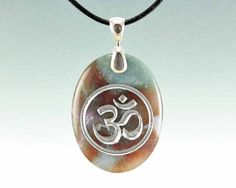 Om or Aum  Engraved Stone Pendant  Indian by CreativeArtandSoul, $28.00