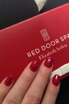 A sparkling #ArdenRed #ManiMonday by Kristin at #RedDoorSpa #Mystic. #Nails