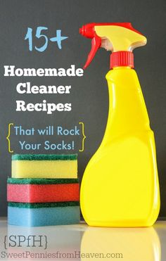 Here are 15+ easy peasy homemade cleaner recipes that will ROCK your socks!! From copycat Windex to a carpet deodorizer....stainless steel cleaner to homemade laundry detergent, you'll find something you love!! Awesome ways to green clean naturally and save a lot of CASH! All of these homemade cleaners are safe around kids and pets!