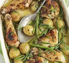 Honey, mustard & creme fraiche baked chicken 4 tbsp crème fraîche 2 tbsp grainy mustard 2 garlic cloves , crushed chicken stock 8 skin-on chicken drumsticks and thighs baby potatoes green beans 2 tbsp clear honey ½ small bunch tarragon , roughly chopped Bbc Good Food Recipes, Healthy Recipes, New Recipes, Dinner Recipes, Cooking Recipes, Favorite Recipes, Cooking Stuff, Fodmap Recipes, Cooking Videos