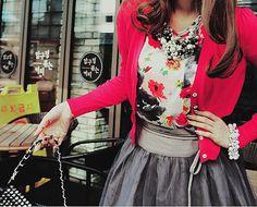 Grey + floral + pink + necklace.