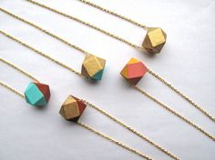 18kt Gold Leaf and Bright Blue Necklace Wood by HomeGrownIllinois, $20.00