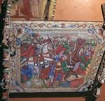 Depiction of the battle of Capua in 1501, showing it being stormed by Cesare Borgia, on a traditional Sicilian painted cart in Palermo, 16th century.