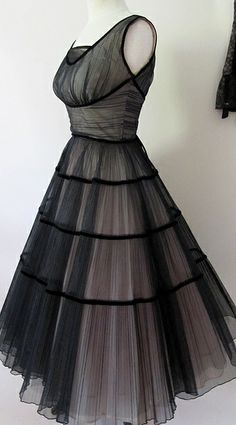 1950s Best Party dress black and pink tulle ... elfsacks