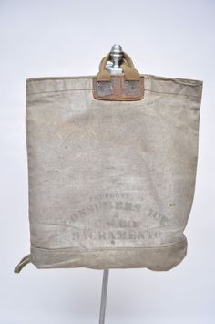 Vintage Tote Bag Huge Ice Leather Canvas 1940s By Goodbyeheart