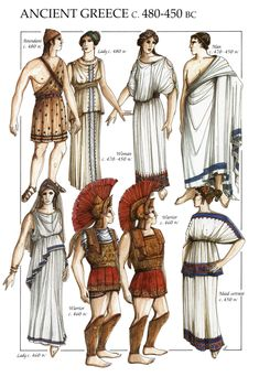 I chose this image because it shows how people would have dressed according to their economic status or class. I can incorporate this into my Clytemnestra design because of her status as queen she would not dress the same way a travler would Ancient Greek Costumes, Ancient Greek Clothing, Ancient Greek Theatre, Ancient Egyptian Art, Ancient Rome, Ancient Aliens, Greece Dress, Greece Outfit, Greek Fashion