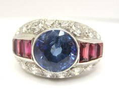Large Blue Sapphire 2.80ct.Diamonds 2.00ct. & Rubies 18k. W Gold Ring Size N 1/2