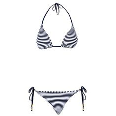 Elizabeth Hurley Beach Mystique Halterneck Bikini ($215) ❤ liked on Polyvore featuring swimwear, bikinis, halter neck bikini, nautical swimwear, halter bikini top, halterneck bikini and nautical bikini swimwear