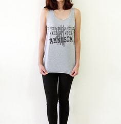 I wish that I could wake up with AMNESIA 5 Seconds of Summer Women Tank Top Hipster Style