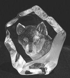 Mats Jonasson Husky Dog - Crystal Etched sculpture
