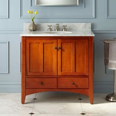 """36"""" Ibarra Cherry Vanity with Undermount Sink...$800.   The 36"""" Ibarra Bathroom Vanity adds a refined look and sufficient storage for all of your bathroom accessories.  Cabinet doors have a warm cherry finish."""